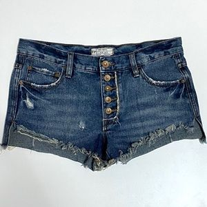 Free People Runaway Button Cut Off Jean Shorts 25